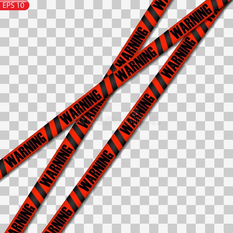 Μαύρες και κίτρινες και κόκκινες γραμμές προσοχής που απομονώνονται ελεύθερη απεικόνιση δικαιώματος