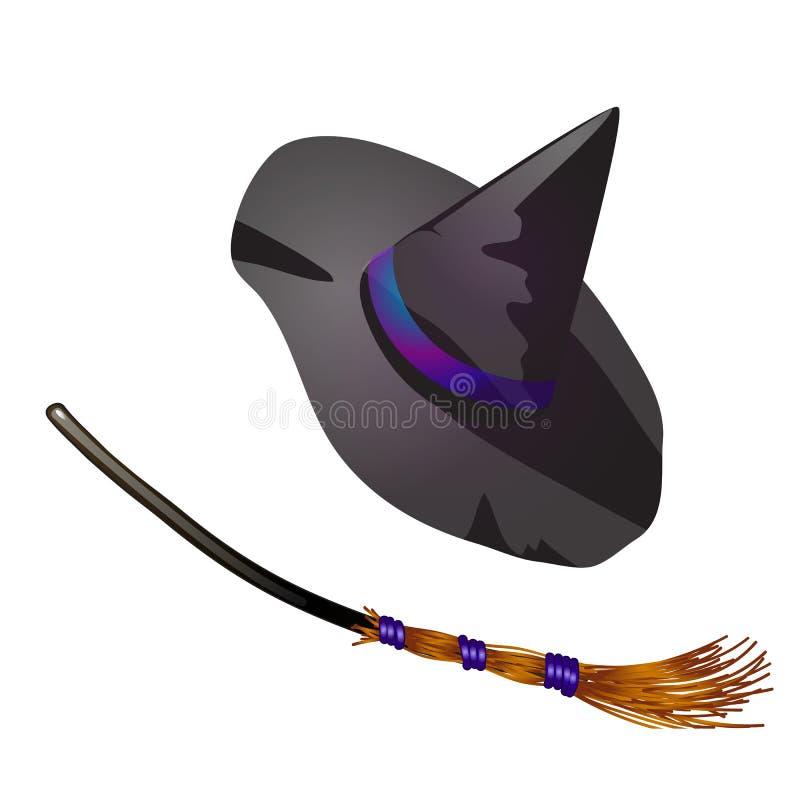 Μαύρες καπέλο και σκούπα μαγισσών αποκριών Σκίτσο για τη ευχετήρια κάρτα, την εορταστική αφίσα ή τις προσκλήσεις κομμάτων Οι ιδιό διανυσματική απεικόνιση