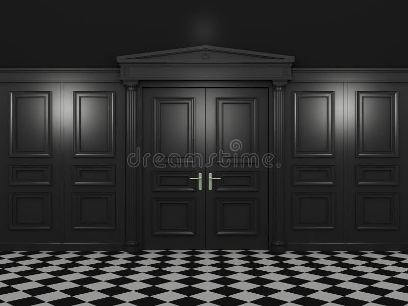 Μαύρες κλειστές διπλές πόρτες ελεύθερη απεικόνιση δικαιώματος