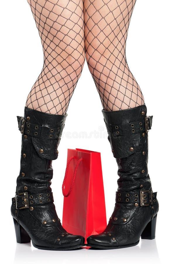 μαύρες μπότες στοκ εικόνες