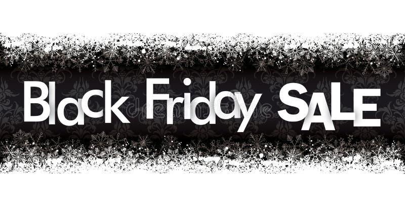 Μαύρες Παρασκευής πώλησης διακοσμήσεις εμβλημάτων χιονιού επιγραφών διπλές διανυσματική απεικόνιση