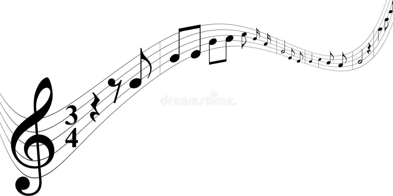 Μαύρες σημειώσεις μουσικής στο άσπρο υπόβαθρο απεικόνιση αποθεμάτων