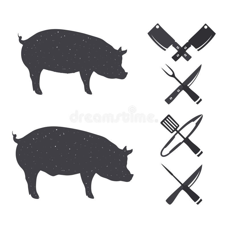 Μαύρες σκιαγραφίες ενός χοίρου και ενός γουρουνιού στοκ φωτογραφίες με δικαίωμα ελεύθερης χρήσης
