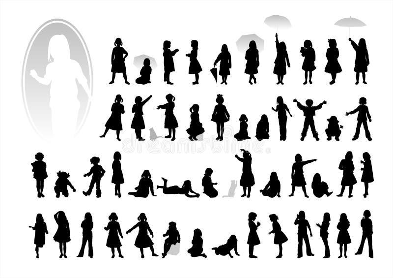 μαύρες σκιαγραφίες παιδ& διανυσματική απεικόνιση