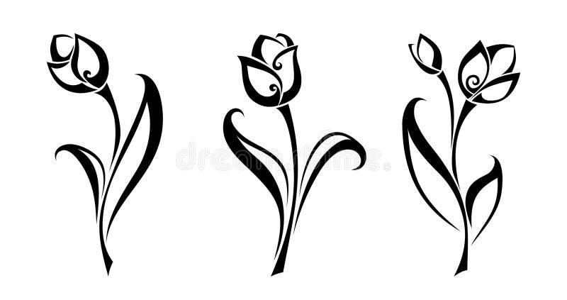 Μαύρες σκιαγραφίες των λουλουδιών τουλιπών επίσης corel σύρετε το διάνυσμα απεικόνισης διανυσματική απεικόνιση