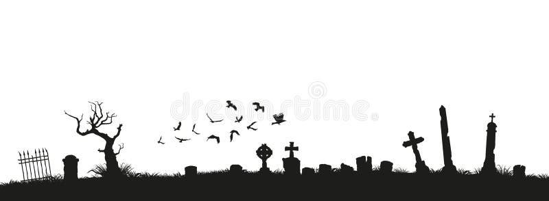Μαύρες σκιαγραφίες των ταφοπετρών, των σταυρών και των ταφοπέτρων Στοιχεία του νεκροταφείου Πανόραμα νεκροταφείων απεικόνιση αποθεμάτων