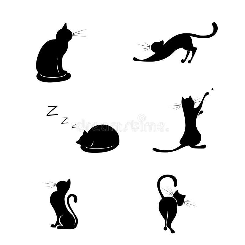 Μαύρες συλλογές σκιαγραφιών γατών ελεύθερη απεικόνιση δικαιώματος