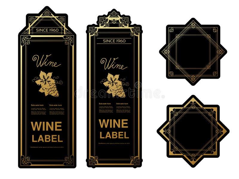 Μαύρες χρυσές ετικέτες κρασιού με τα σταφύλια στο άσπρο υπόβαθρο Πλαίσια ορθογωνίων και αστεριών στο μπουκάλι κρασιού Διακοσμητικ διανυσματική απεικόνιση