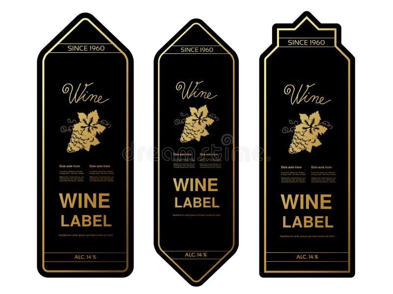 Μαύρες χρυσές ετικέτες κρασιού με τα σταφύλια στο άσπρο υπόβαθρο Πλαίσια ορθογωνίων στο μπουκάλι κρασιού Διακοσμητικές αυτοκόλλητ απεικόνιση αποθεμάτων