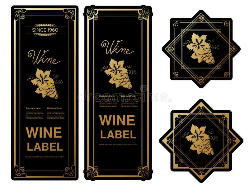 Μαύρες χρυσές ετικέτες κρασιού με τα σταφύλια στο άσπρο υπόβαθρο Πλαίσια ορθογωνίων και αστεριών στο μπουκάλι κρασιού Διακοσμητικ ελεύθερη απεικόνιση δικαιώματος