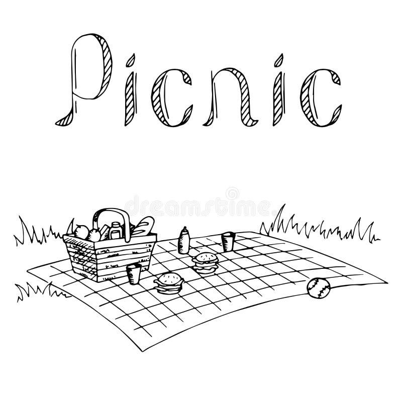 Μαύρη άσπρη απεικόνιση τέχνης πικ-νίκ γραφική διανυσματική απεικόνιση