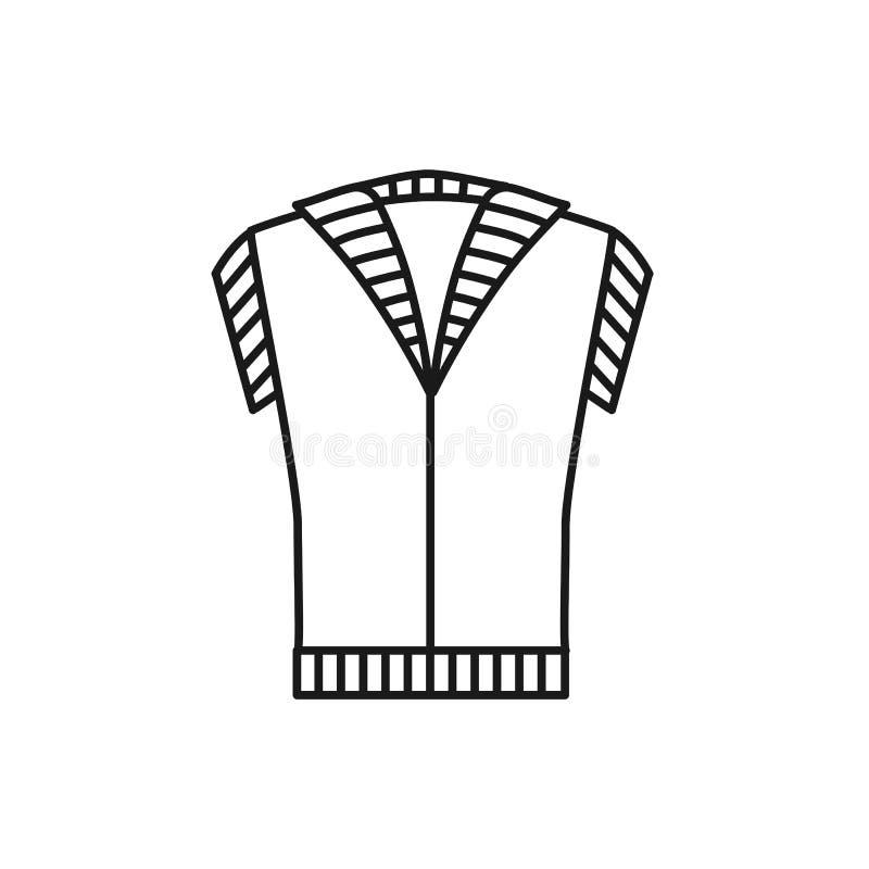 Μαύρη & άσπρη απεικόνιση του πλεκτού θερμού γιλέκου φανέλλων Διανυσματικό εικονίδιο γραμμών των χειμερινών χειροποίητων ενδυμάτων διανυσματική απεικόνιση