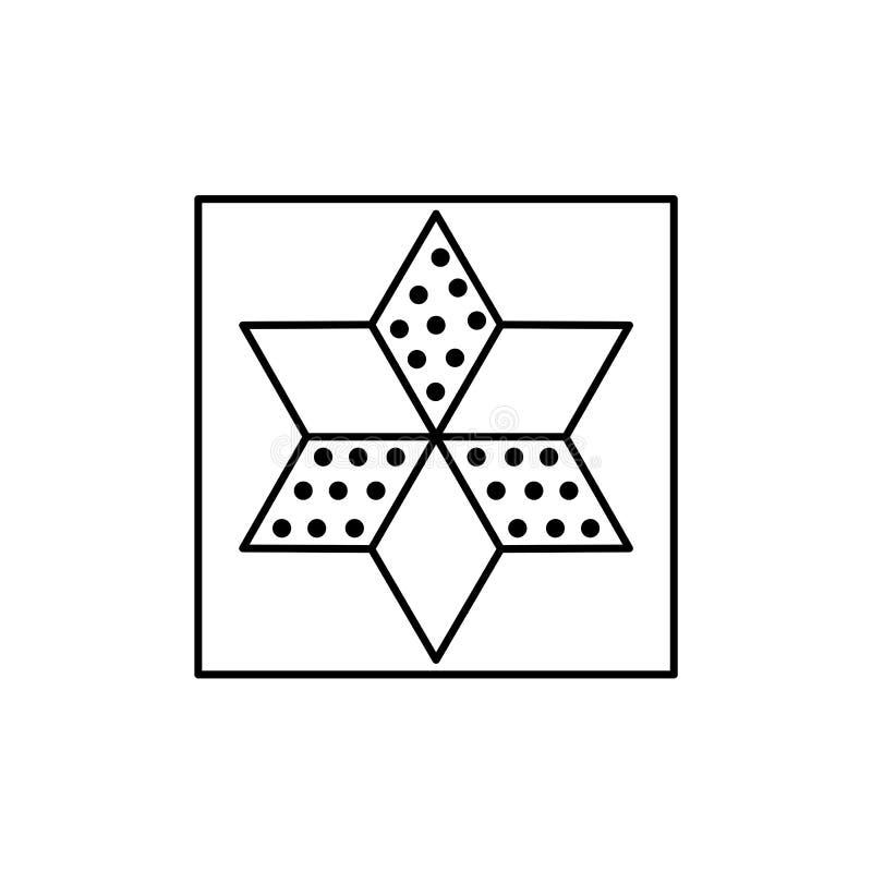 Μαύρη & άσπρη διανυσματική απεικόνιση του σχεδίου παπλωμάτων αστεριών Ολοκληρωμένο κύκλωμα γραμμών διανυσματική απεικόνιση