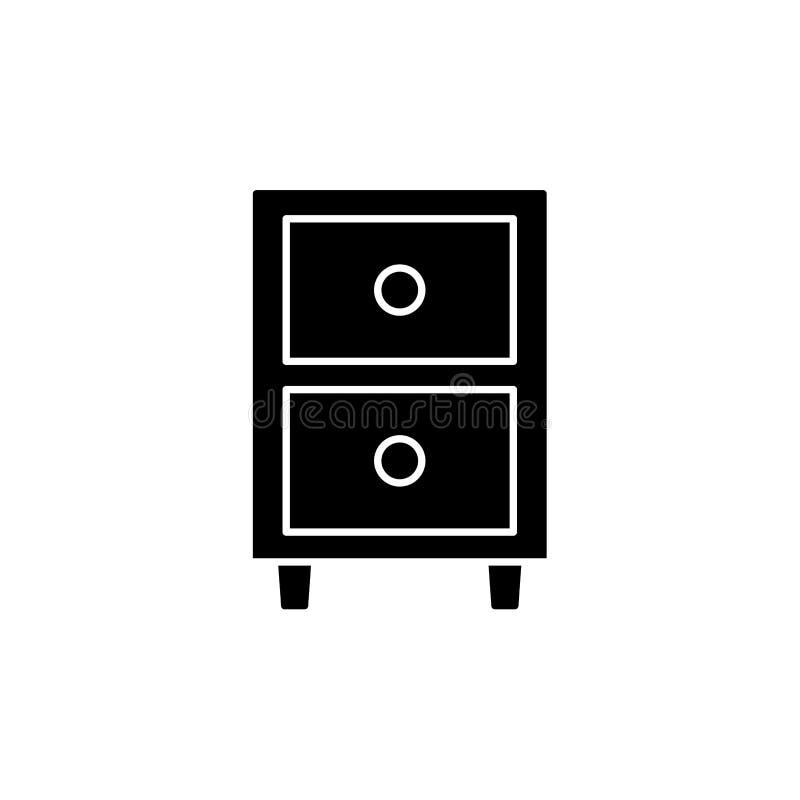 Μαύρη & άσπρη διανυσματική απεικόνιση του nightstand με 2 συρτάρια Επίπεδο εικονίδιο της νύχτας ή του πίνακα πλευρών Έπιπλα κρεβα διανυσματική απεικόνιση