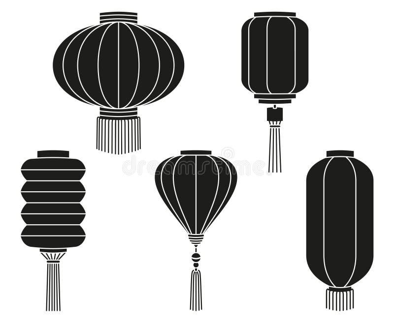 Μαύρη άσπρη κινεζική συλλογή σκιαγραφιών φαναριών διανυσματική απεικόνιση