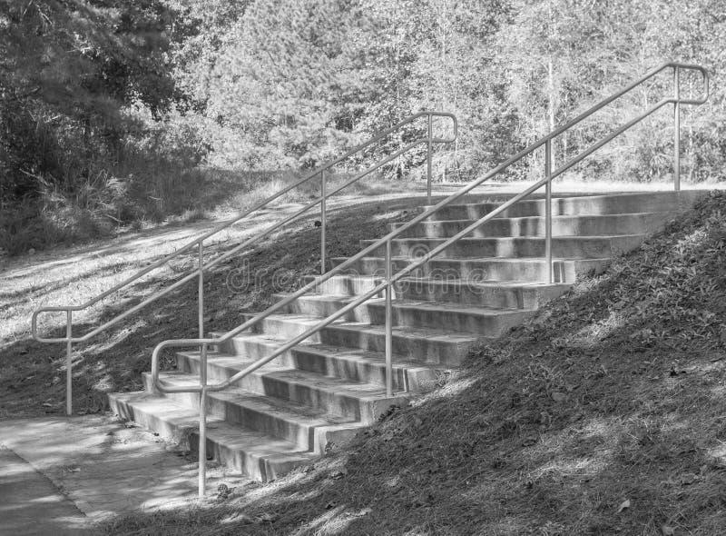 Μαύρη άσπρη πορεία πάρκων σκαλοπατιών στοκ εικόνα