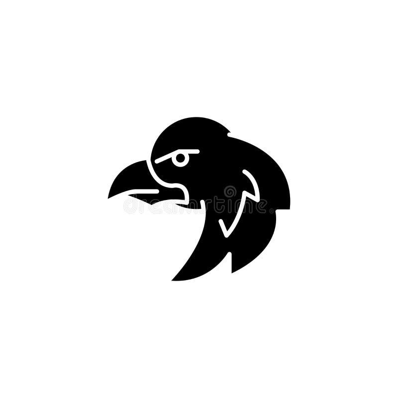 Μαύρη έννοια εικονιδίων αετών Επίπεδο διανυσματικό σύμβολο αετών, σημάδι, απεικόνιση απεικόνιση αποθεμάτων