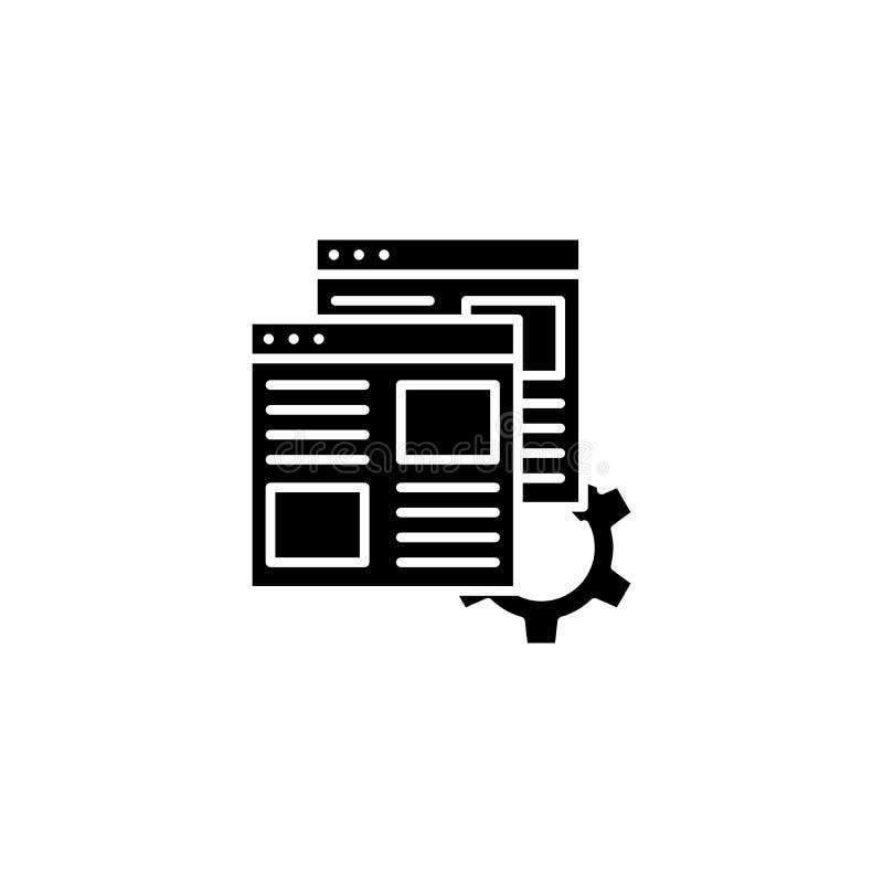 Μαύρη έννοια εικονιδίων βελτιστοποίησης ιστοσελίδας Επίπεδο διανυσματικό σύμβολο βελτιστοποίησης ιστοσελίδας, σημάδι, απεικόνιση διανυσματική απεικόνιση