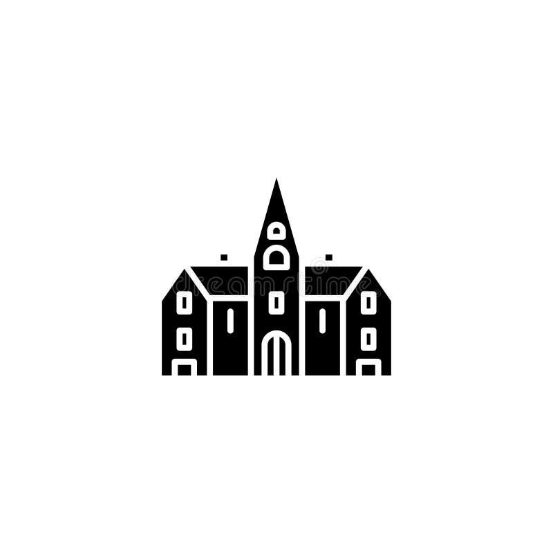Μαύρη έννοια εικονιδίων εκκλησιών Επίπεδο διανυσματικό σύμβολο εκκλησιών, σημάδι, απεικόνιση απεικόνιση αποθεμάτων