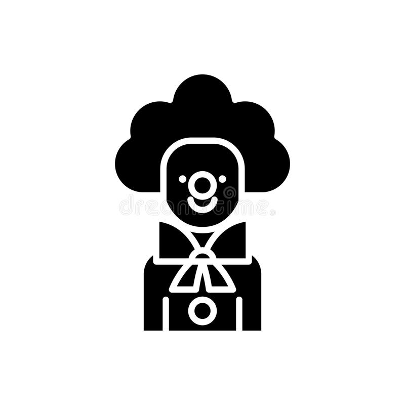 Μαύρη έννοια εικονιδίων κλόουν Επίπεδο διανυσματικό σύμβολο κλόουν, σημάδι, απεικόνιση ελεύθερη απεικόνιση δικαιώματος