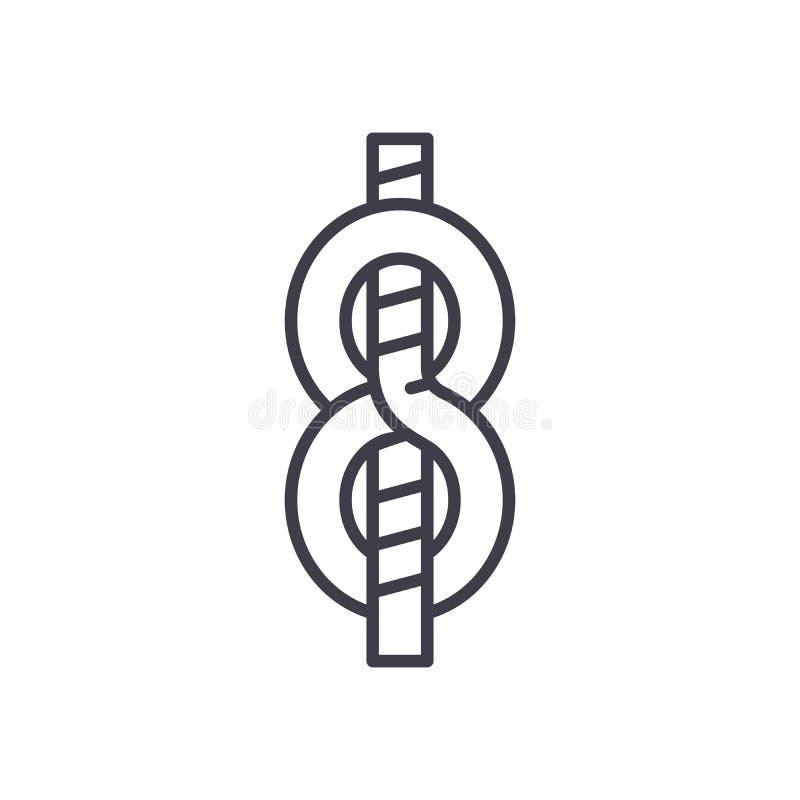 Μαύρη έννοια εικονιδίων κόμβων ναυτικών ` s Επίπεδο διανυσματικό σύμβολο κόμβων ναυτικών ` s, σημάδι, απεικόνιση διανυσματική απεικόνιση
