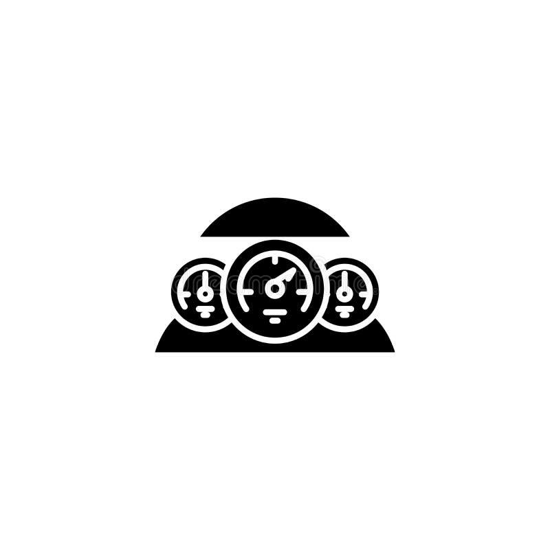 Μαύρη έννοια εικονιδίων ταμπλό αυτοκινήτων Επίπεδο διανυσματικό σύμβολο ταμπλό αυτοκινήτων, σημάδι, απεικόνιση απεικόνιση αποθεμάτων