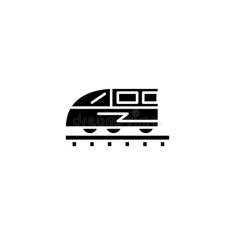 Μαύρη έννοια εικονιδίων τραίνων Επίπεδο διανυσματικό σύμβολο τραίνων, σημάδι, απεικόνιση ελεύθερη απεικόνιση δικαιώματος