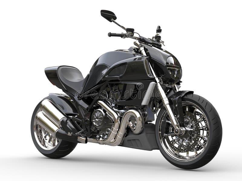 Μαύρη αθλητική μοτοσικλέτα - πλάγια όψη - πυροβολισμός κινηματογραφήσεων σε πρώτο πλάνο απεικόνιση αποθεμάτων