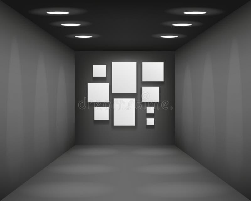 Μαύρη αιθουσών εκθέσεως γκαλεριών τέχνης κενή μουσείων προοπτική υποβάθρου δωματίων εσωτερική με το κενό πρότυπο πλαισίων εγγράφο ελεύθερη απεικόνιση δικαιώματος