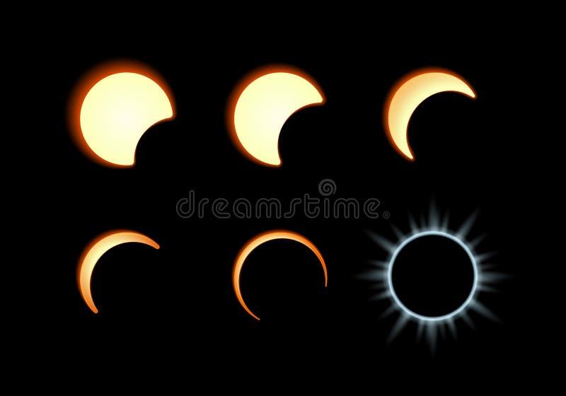 μαύρη απεικόνιση έκλειψης σχεδίου ανασκόπησης ηλιακή διανυσματική απεικόνιση