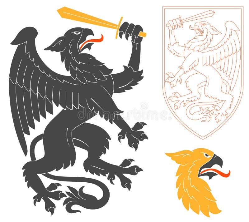Μαύρη απεικόνιση του Griffin απεικόνιση αποθεμάτων