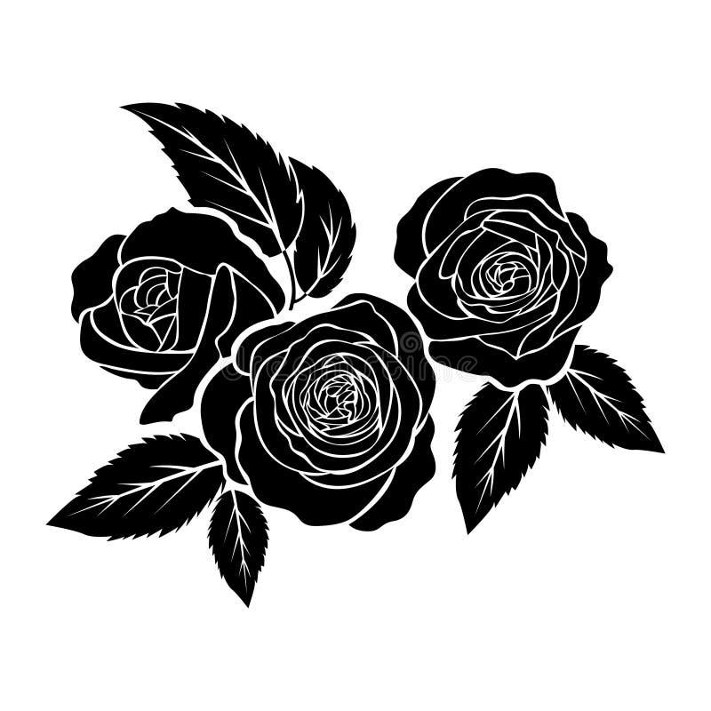 Μαύρη απεικόνιση τριαντάφυλλων, δερματοστιξία στο άσπρο υπόβαθρο, διάνυσμα διανυσματική απεικόνιση