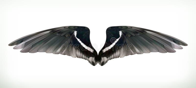 Μαύρη απεικόνιση φτερών διανυσματική απεικόνιση