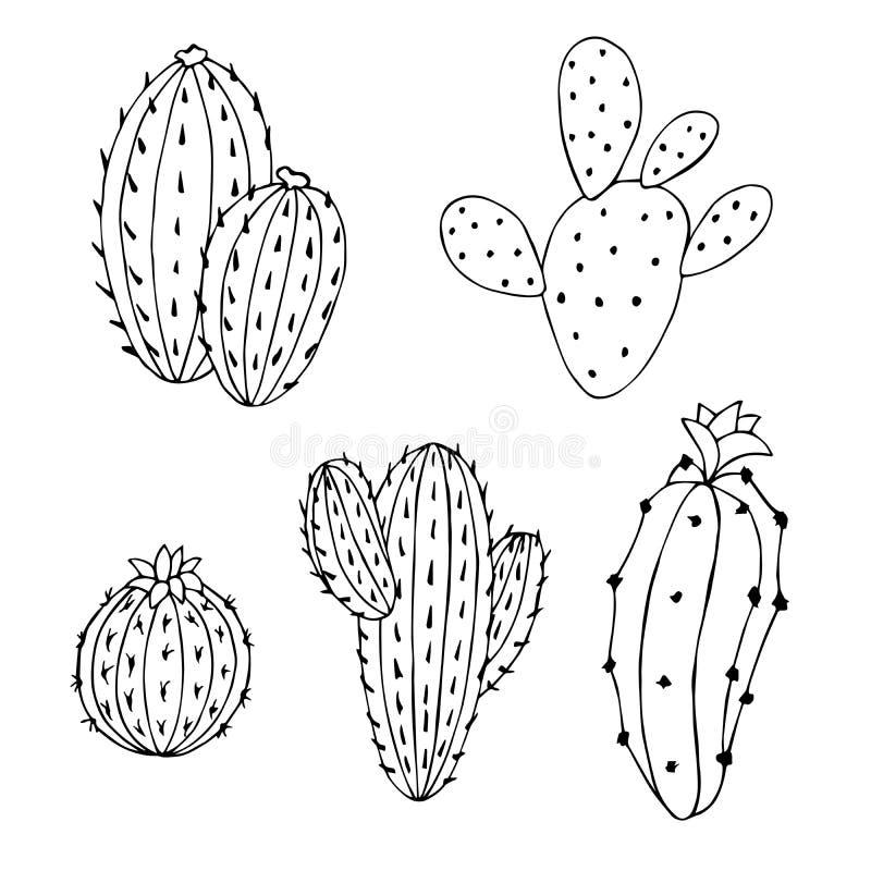 Μαύρη απομονωμένη λευκό απεικόνιση τέχνης κάκτων καθορισμένη γραφική διανυσματική απεικόνιση