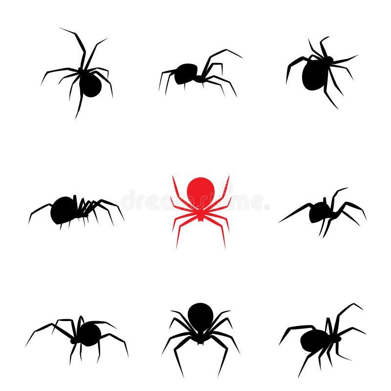 Μαύρη αράχνη χηρών στο ύφος σκιαγραφιών ελεύθερη απεικόνιση δικαιώματος