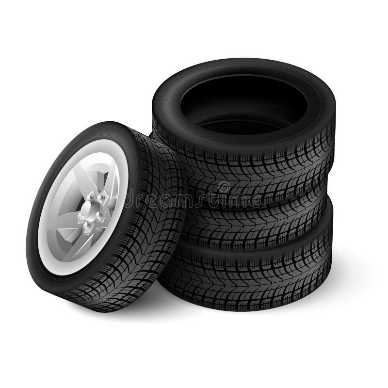 μαύρη λαστιχένια ρόδα αυτοκινήτων διανυσματική απεικόνιση