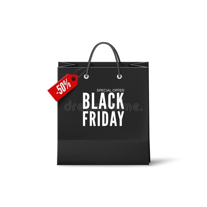 Μαύρη αφίσα Παρασκευής Μαύρη τσάντα εγγράφου με την ετικέττα έκπτωσης Μαύρο πρότυπο εμβλημάτων Παρασκευής διάνυσμα απεικόνιση αποθεμάτων