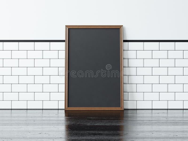 Μαύρη αφίσα στο μαύρο πάτωμα τρισδιάστατη απόδοση στοκ φωτογραφίες με δικαίωμα ελεύθερης χρήσης