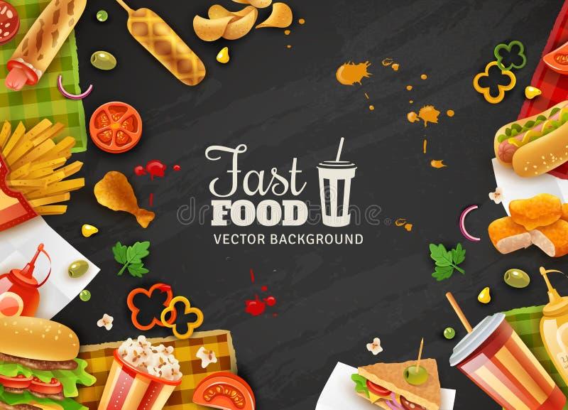 Μαύρη αφίσα υποβάθρου γρήγορου φαγητού απεικόνιση αποθεμάτων