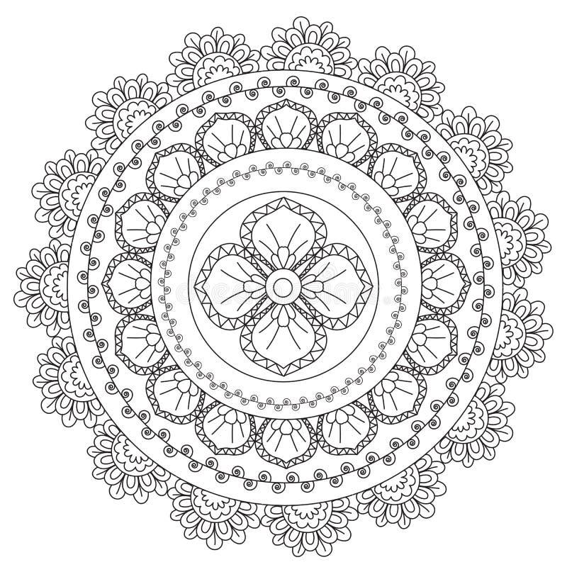 Μαύρη αφαίρεση Mandala χρωματισμού ελεύθερη απεικόνιση δικαιώματος