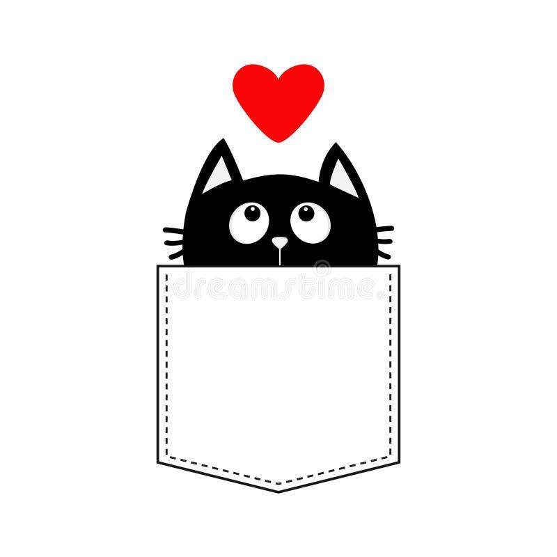 Μαύρη γάτα στην τσέπη που ανατρέχει στην κόκκινη καρδιά τηγανισμένο αυγό παν πουκάμισο τ σχεδίου ανασκόπησης μαύρο στενό επάνω Χα διανυσματική απεικόνιση