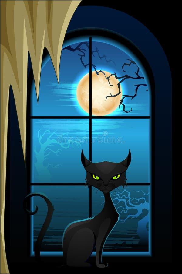 Μαύρη γάτα στη νύχτα αποκριών ελεύθερη απεικόνιση δικαιώματος