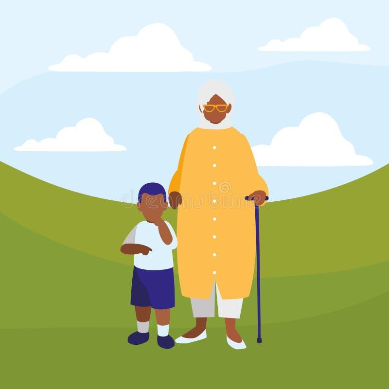 Μαύρη γιαγιά με τον εγγονό διανυσματική απεικόνιση