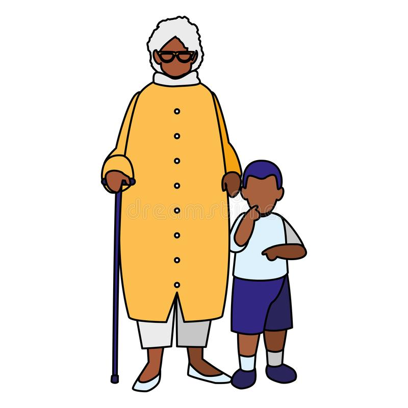 Μαύρη γιαγιά με τον εγγονό απεικόνιση αποθεμάτων