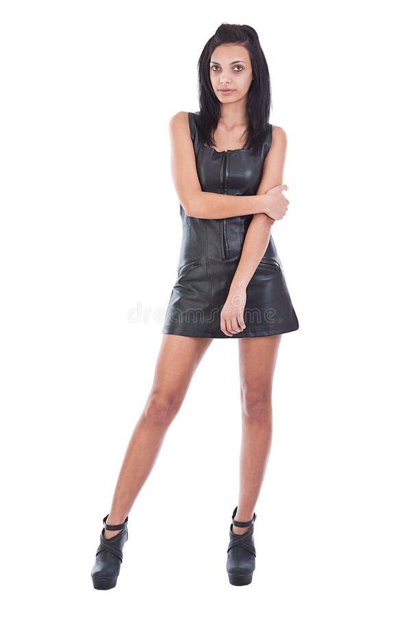 μαύρη γυναίκα leathe στοκ φωτογραφίες