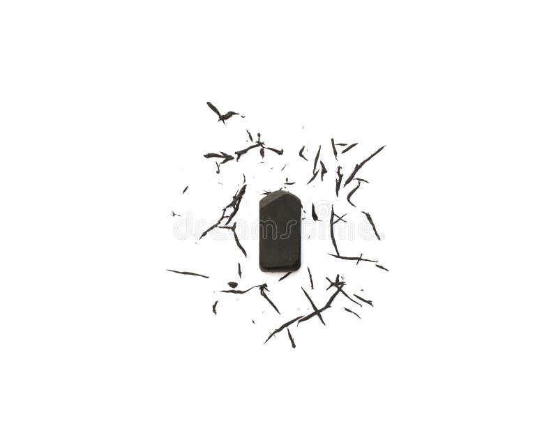 Μαύρη γόμα στο λευκό στοκ φωτογραφίες