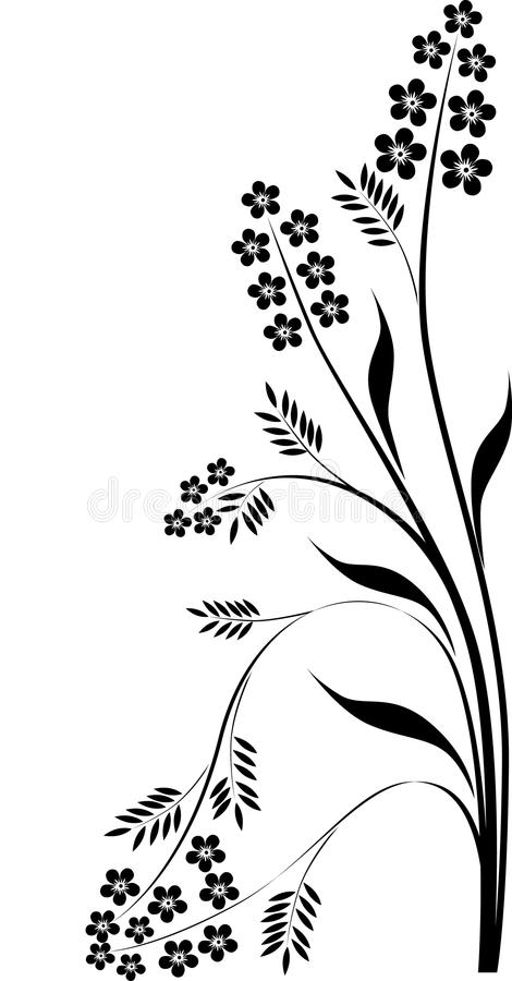 μαύρη διακόσμηση κλάδων floral απεικόνιση αποθεμάτων