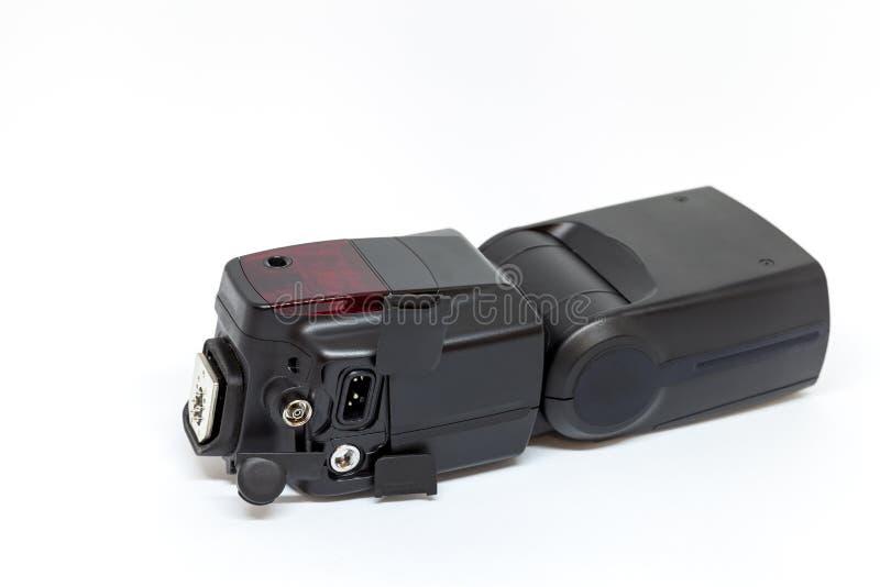 Μαύρη εξωτερική λάμψη για μια κάμερα με τους ανοικτούς πρόσθετους συνδετήρες στοκ φωτογραφίες
