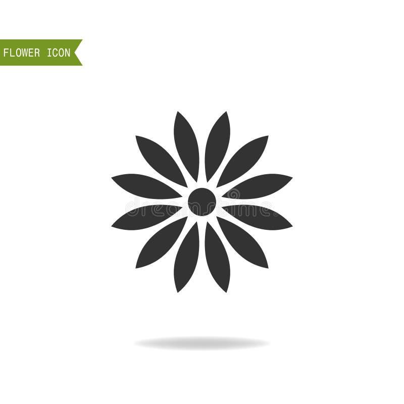 Μαύρη επίπεδη σκιαγραφία, αντικείμενο του λουλουδιού για το λογότυπο στο άσπρο υπόβαθρο διανυσματική απεικόνιση