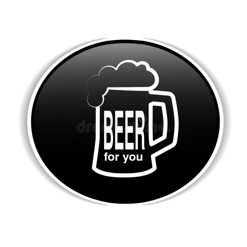 Μαύρη ετικέτα με το άσπρο σύμβολο της μπύρας Πλήρης πίντα εικονιδίων της μπύρας με τον αφρό σχεδιάστε τη γραμμή Διακριτικό μπύρας ελεύθερη απεικόνιση δικαιώματος